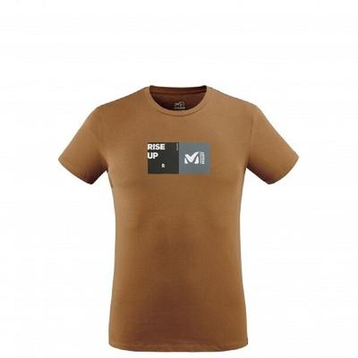 MILLET 男 MILLET SQUAR 有機棉短袖排汗T恤 褐-MIV87259050