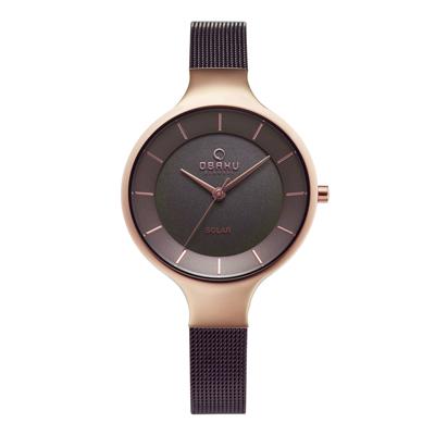 OBAKU 精美女性太陽能腕錶-棕色X玫瑰金-V221LRVNMN-32mm