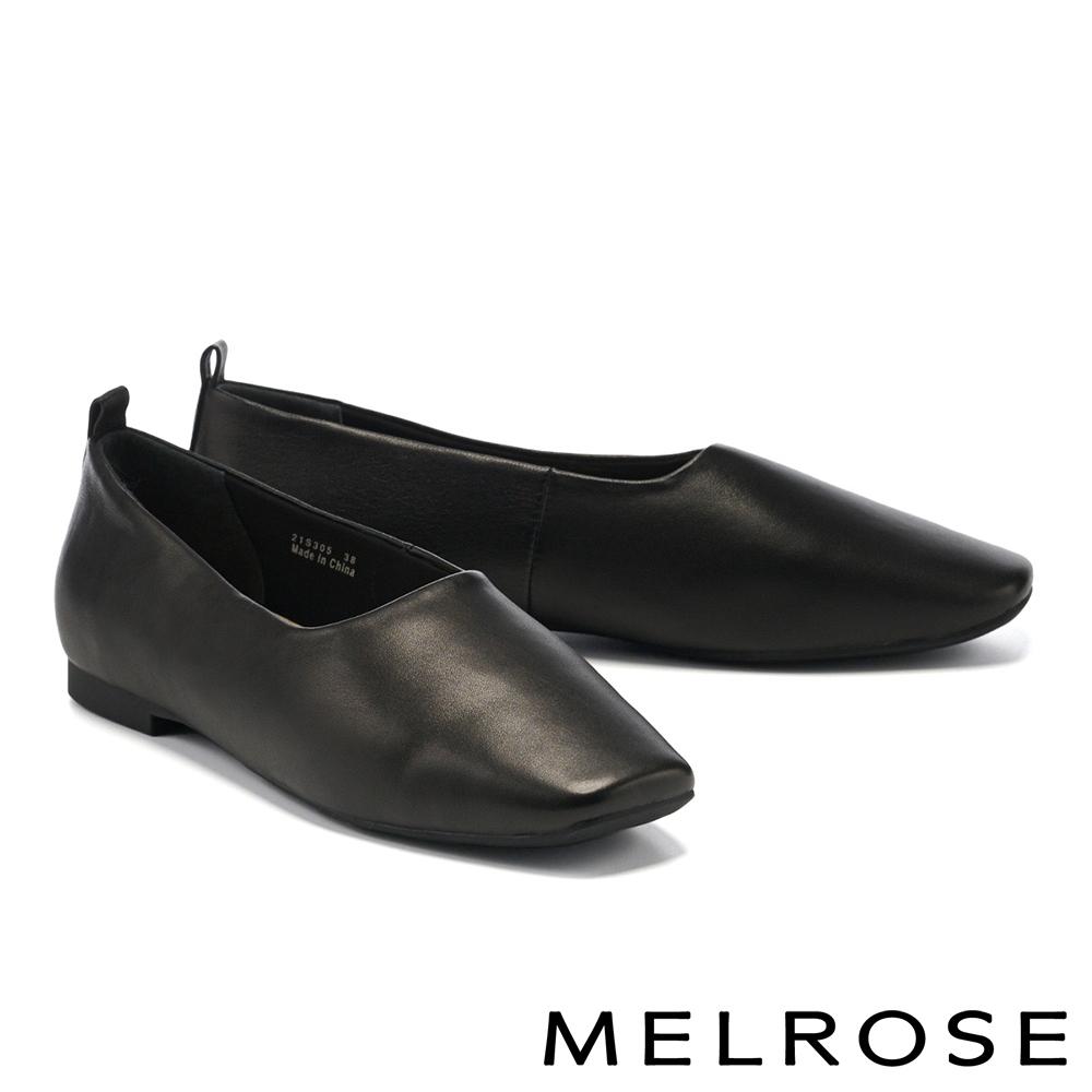 平底鞋 MELROSE 簡約質感純色羊皮方頭平底鞋-黑