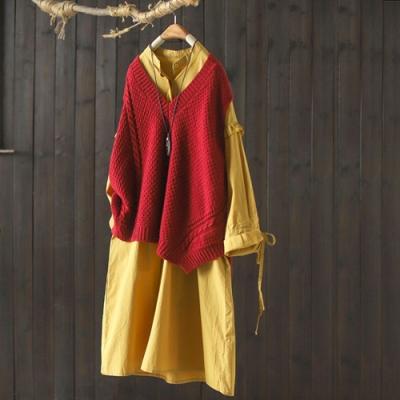 單元色V領無袖針織背心寬鬆不規則開叉外穿毛衣馬夾-設計所在