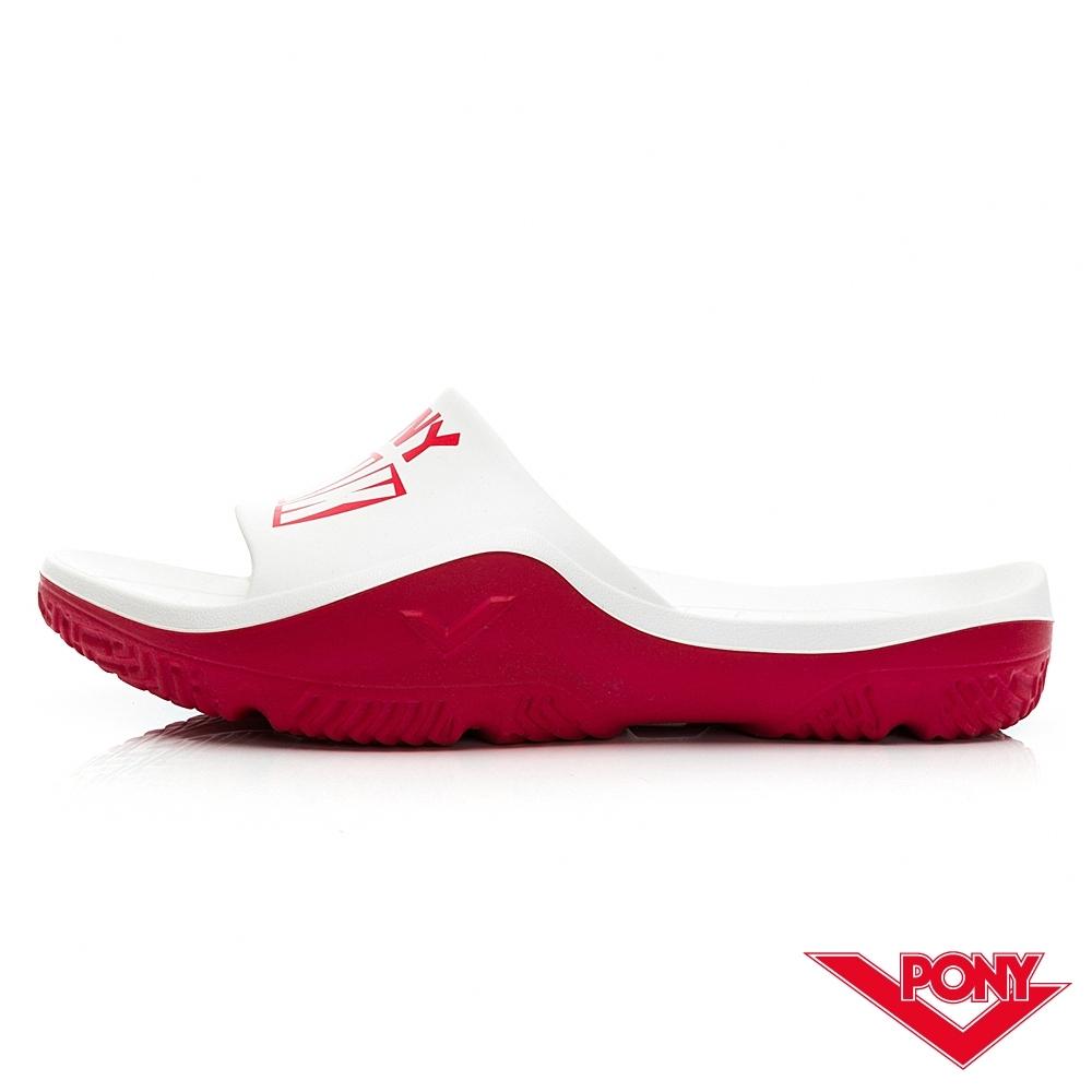 【PONY】PARK-X系列拖鞋-中性款-龐克/白