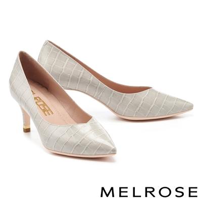高跟鞋 MELROSE 經典時髦鱷魚壓紋質感皮革尖頭高跟鞋-灰