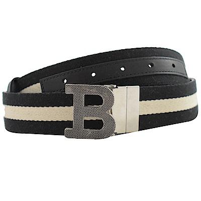 BALLY 經典紋路B字牛皮織帶雙面皮帶(黑白)