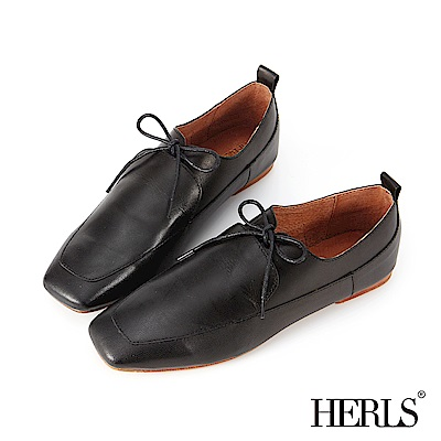 HERLS 全真皮仿舊擦色綁帶方頭休閒鞋-黑色