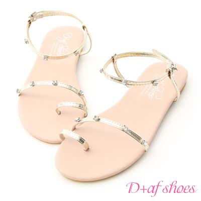 D+AF 夢幻夏日.水鑽寶石細帶平底涼鞋*粉金
