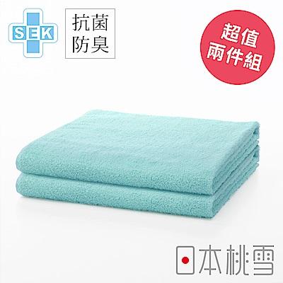 日本桃雪 SEK抗菌防臭運動大毛巾超值兩件組(湖水藍)