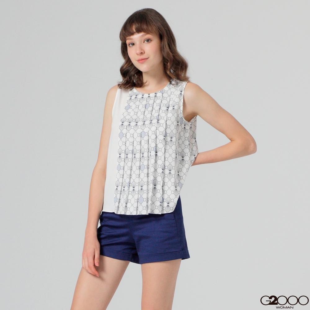 G2000印花短袖休閒上衣-白色