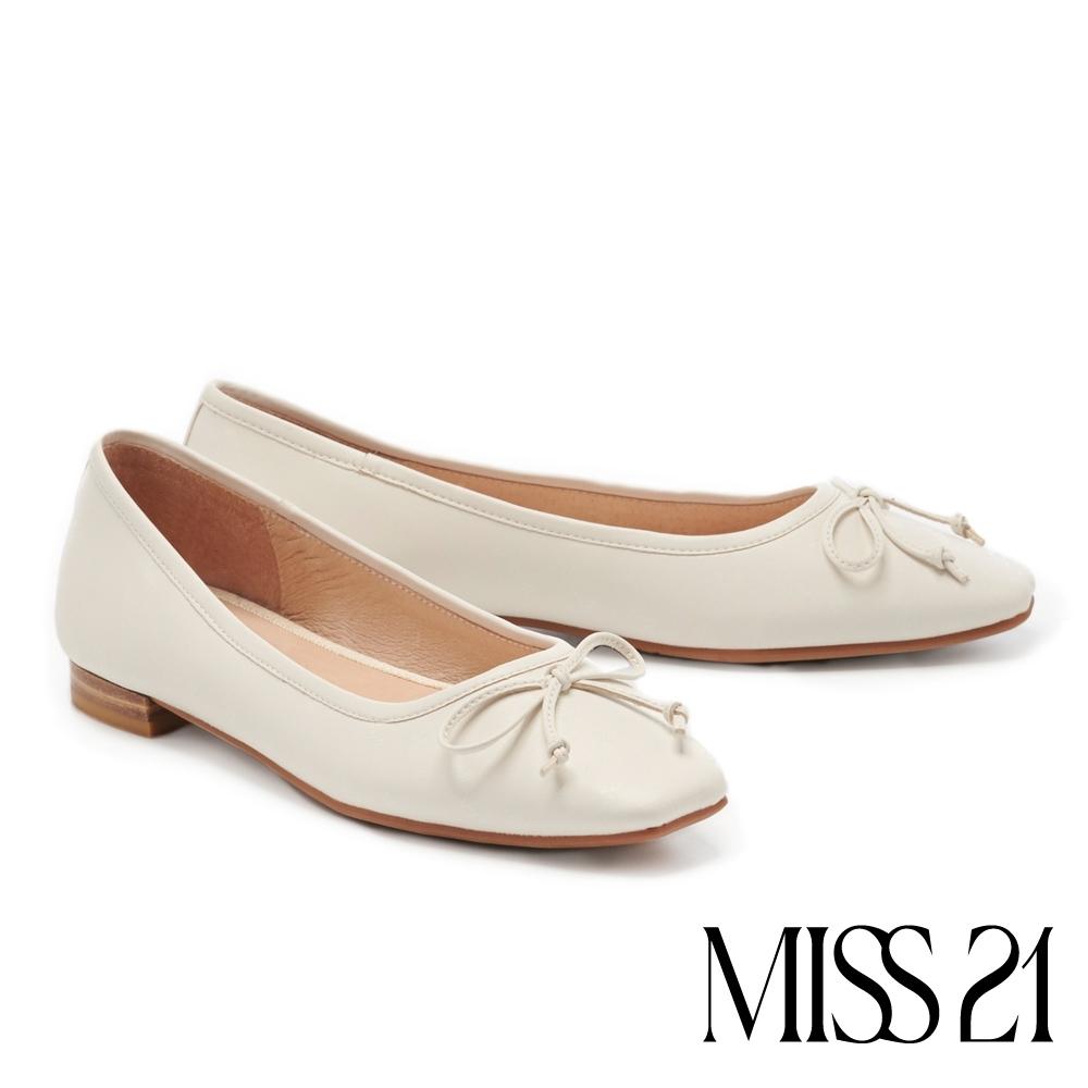 低跟鞋 MISS 21 時尚都會蝴蝶結小氣質方頭低跟娃娃鞋-白