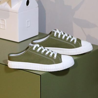 moz瑞典 穆勒拖鞋式餅乾鞋(橄欖綠)