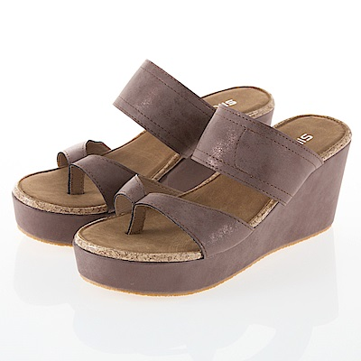JMS-簡約休閒寬帶夾腳楔型涼拖鞋-棕色