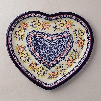 波蘭陶沙漠玫瑰系列愛心造型餐盤波蘭手工製
