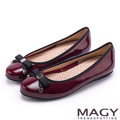 MAGY 清新女孩 氣質款蝴蝶結牛皮娃娃鞋-紅色