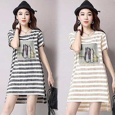 條紋印花連衣裙-共2色(M-2XL可選)     NUMI  復古