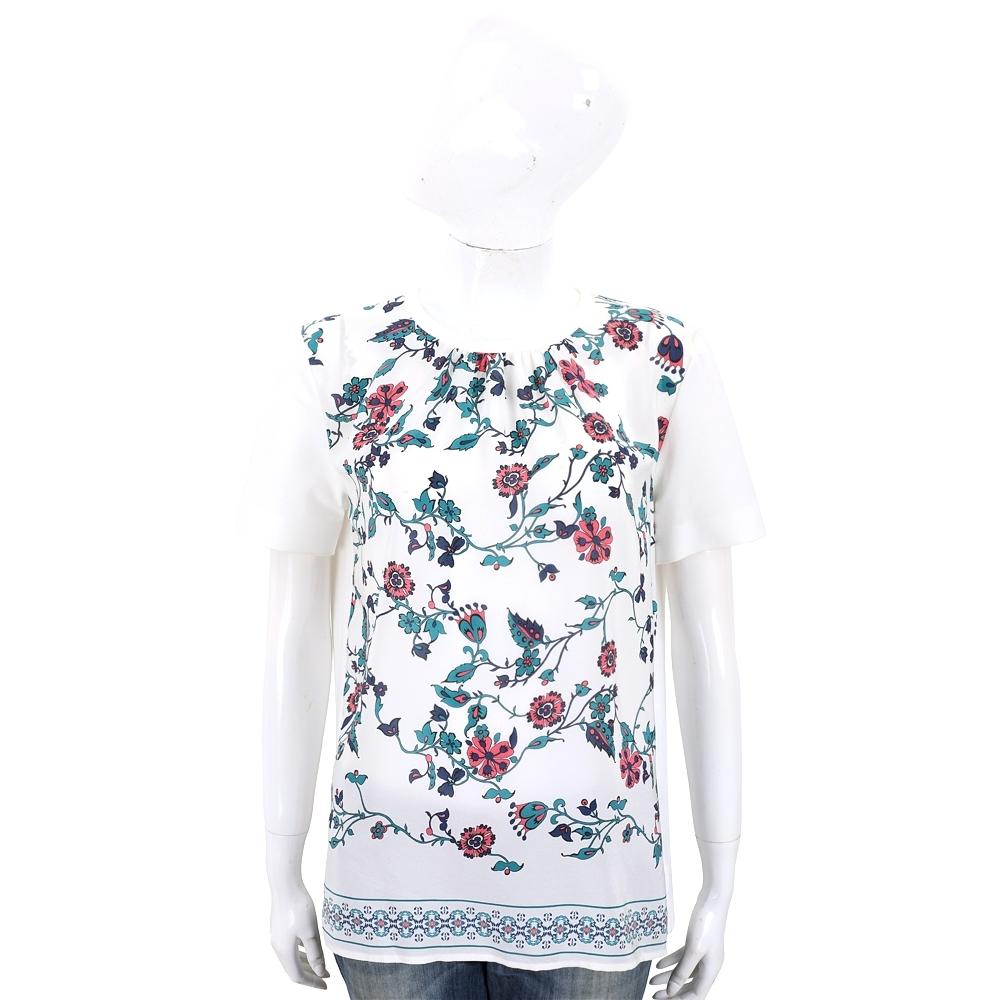 MAX MARA 虅蔓印花打摺領白色設計款雪紡拼接T恤