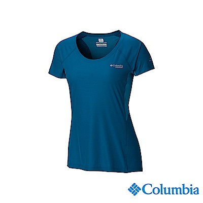Columbia 哥倫比亞 女款-野跑涼感快排短袖上衣-孔雀藍UAR26760PC