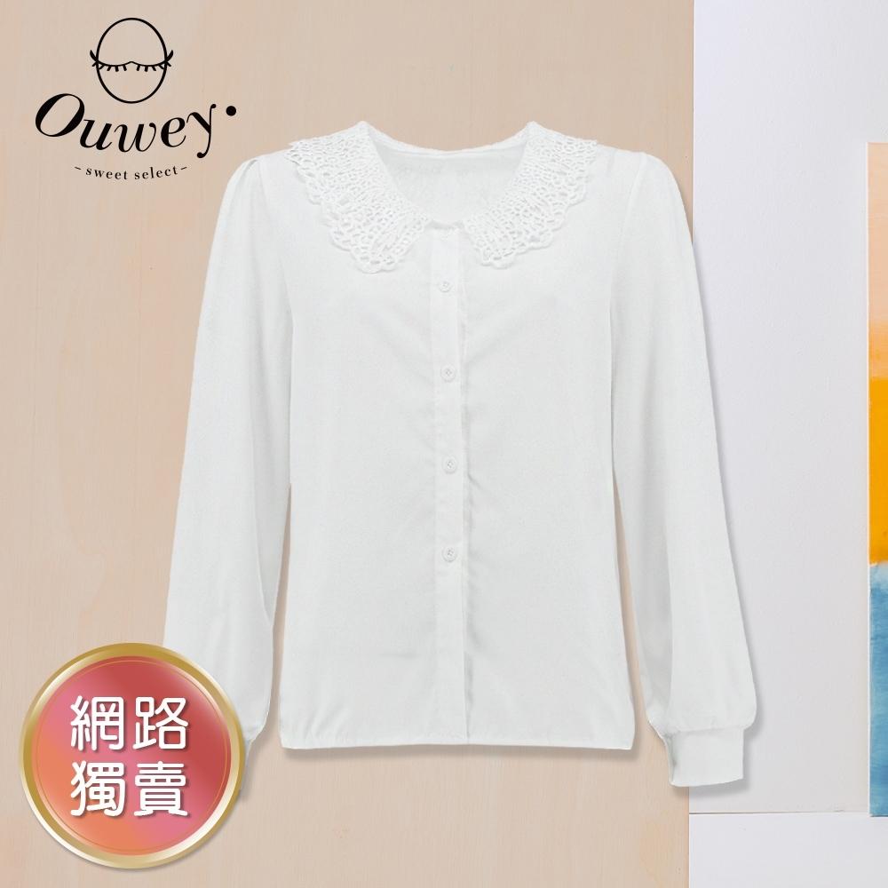 OUWEY歐薇 造型水溶蕾絲領氣質上衣(白)3212461525