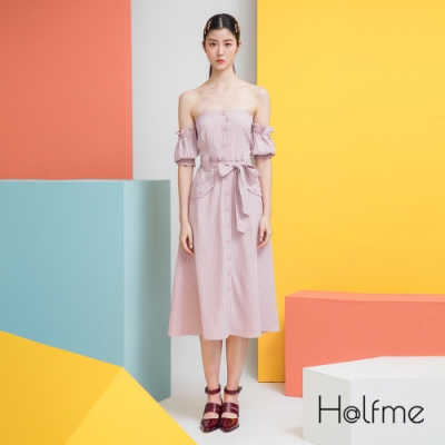 【時時樂限定】Halfme-一字領直條連身洋裝-女(2色選)
