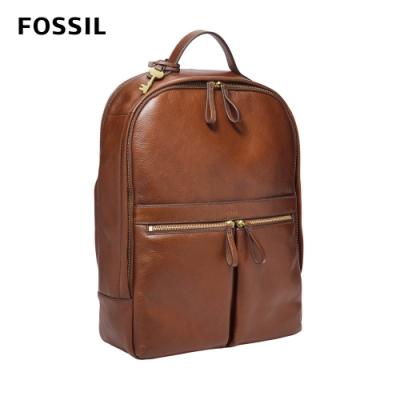 FOSSIL Tess 真皮後背包-咖啡色 ZB1325200 (可插入行李箱拉桿,15吋筆電保護夾層)