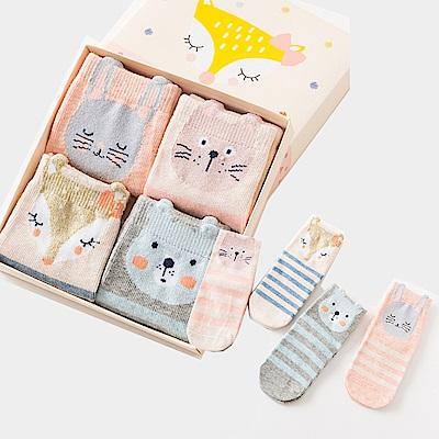 保暖寶寶中筒卡通童襪4雙組-萌寵動物