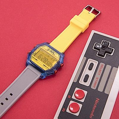 I AM 玩色新革命電子錶-藍殼黃錶盤_大(IAM-106)41x44mm