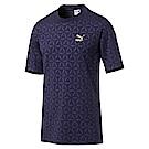 PUMA-男性流行系列LUXE印花短袖T恤-重深藍-亞規