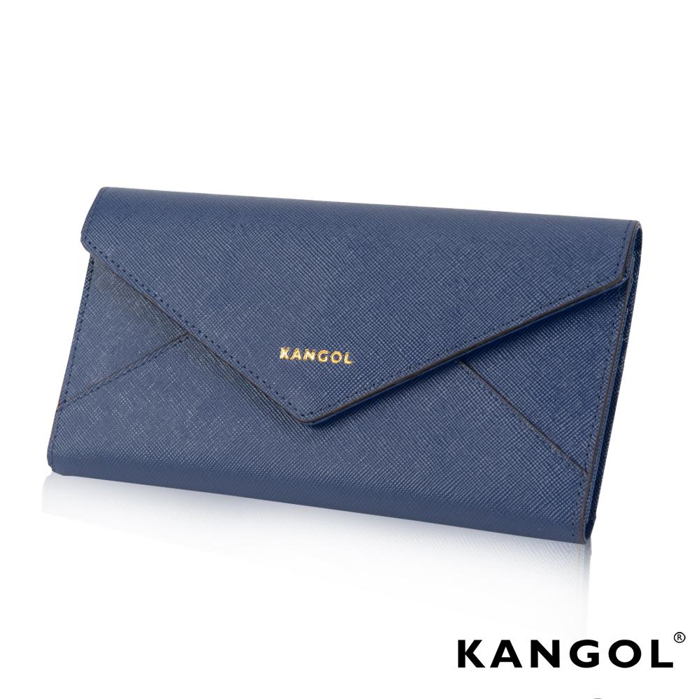 KANGOL 優雅十字紋信封款長夾- 藍色