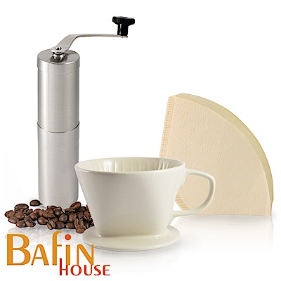 日本三洋 101 咖啡濾紙100張 & Bafin House 陶瓷濾杯及不鏽鋼磨豆機組