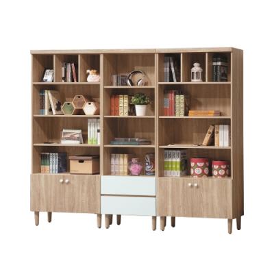 柏蒂家居-利亞7.4尺四門二抽開放式書櫃組合-221x32x185cm