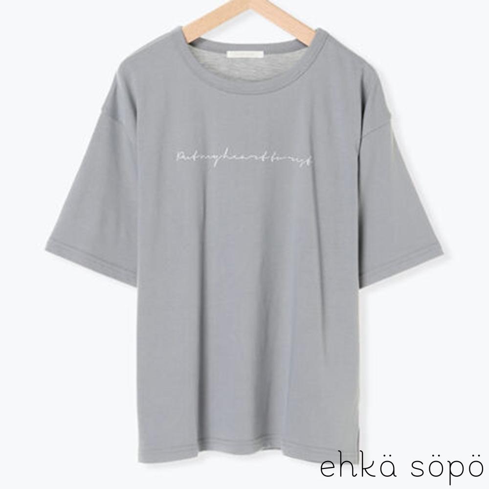 ehka sopo 草寫標語設計圓領落肩短袖T恤 @ Y!購物