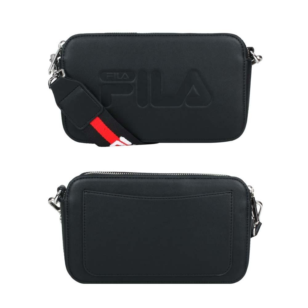 FILA 背帶相機包-硬殼 皮革 側背包 斜背包 肩背包 BMV-3015-BK 黑紅白