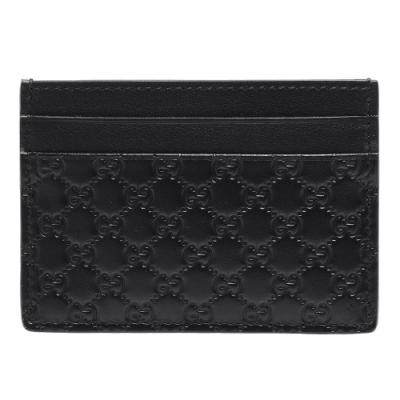 GUCCI 經典Guccissima GG壓紋小牛皮信用卡夾(黑)