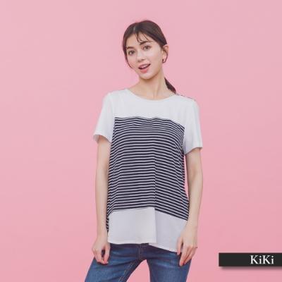 【KiKi】條文拼接雪紡舒適-上衣(二色)