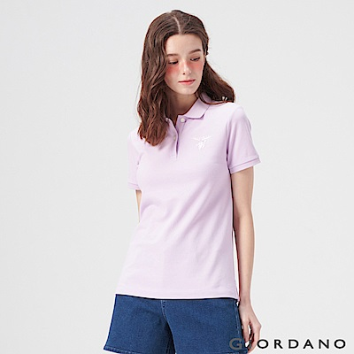 GIORDANO 女裝麋鹿漸層刺繡短袖POLO衫-08 微風紫