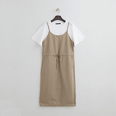 Hang Ten - 女裝 - 假兩件式休閒綁帶洋裝 -卡其色