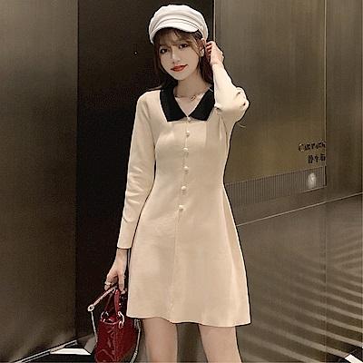 DABI 韓國風收腰純色氣質復古針織長袖洋裝