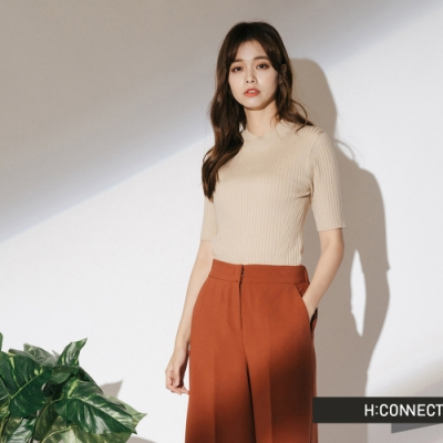 H:CONNECT 韓國品牌 女裝-羅紋針織短袖上衣-卡其