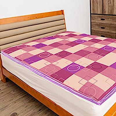 經典時尚英格蘭風格格紋冬夏兩用雙人床墊-粉紅格紋