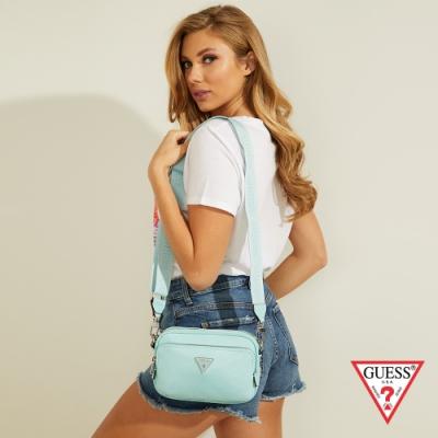 GUESS-女包-輕巧簡約素面輕便斜背包-淺藍 原價2290
