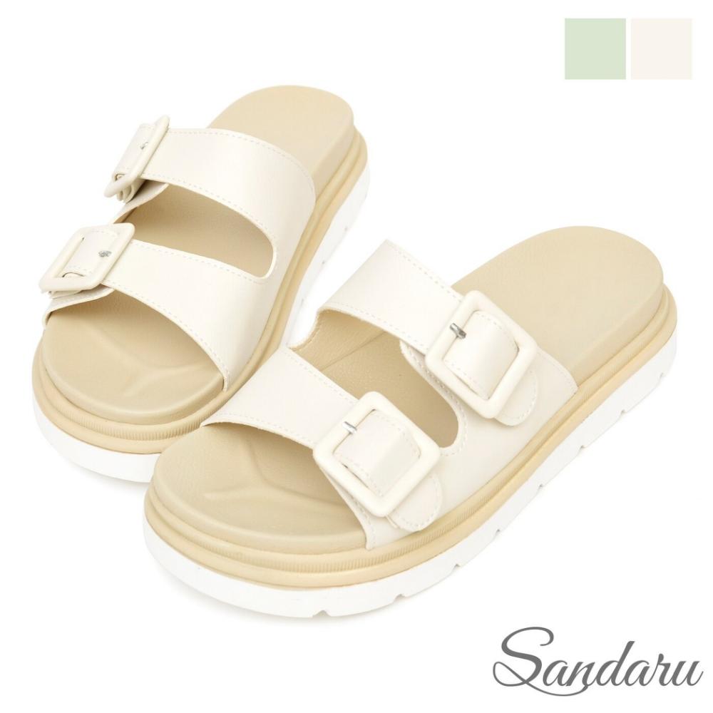山打努SANDARU-拖鞋 清新雙帶飾釦厚底鞋-米 (米)