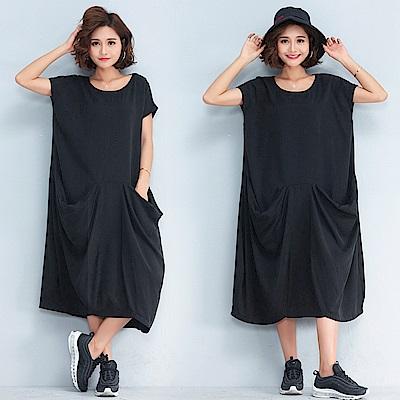 個性潮流黑色大口袋寬版洋裝F-Keer