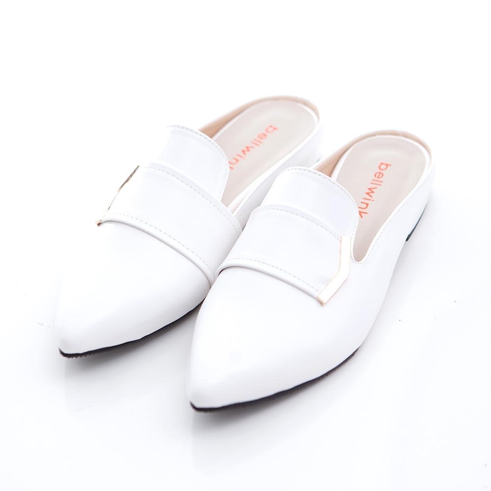 bellwink-金屬亮面皮尖頭拖鞋-白-b1011we