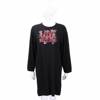 LOVE MOSCHINO 刺繡字母黑色羊毛針織洋裝