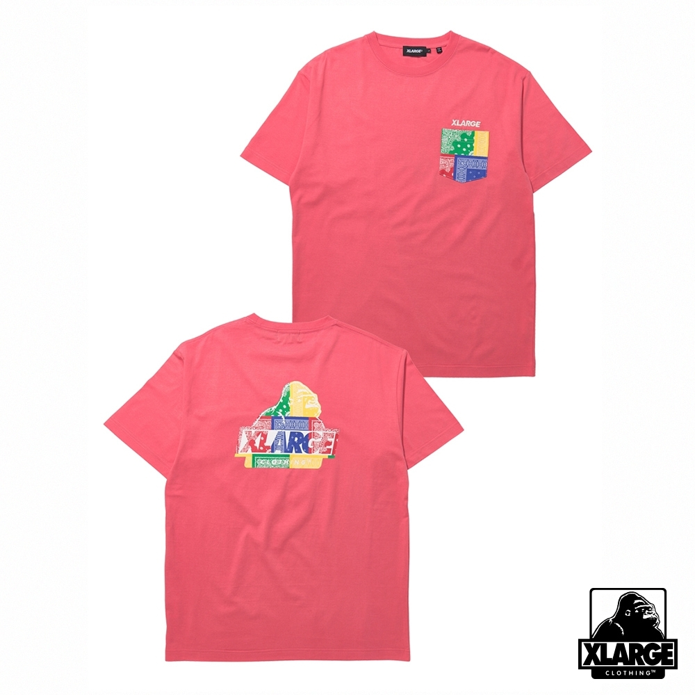 XLARGE S/S PAISLEY SLANTED OG POCKET TEE短袖T恤-粉