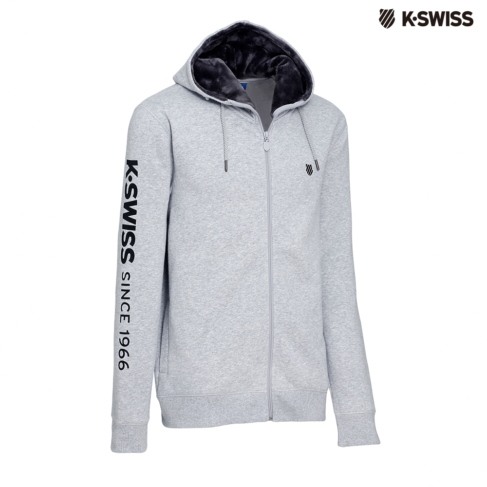K-SWISS KS 1966 JKT刷毛連帽外套-男-灰