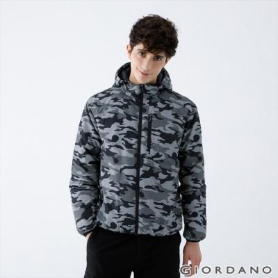 GIORDANO 男裝輕羽絨連帽外套 - 97 白迷彩