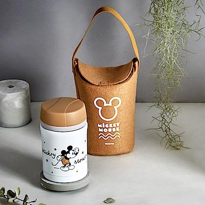 Disney 迪士尼 經典米奇 #304不銹鋼內瓷真空燜燒罐提袋組450ml(快)