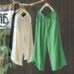 素色亞麻寬鬆休閒高腰垂感直筒七分褲子六色-設計所在