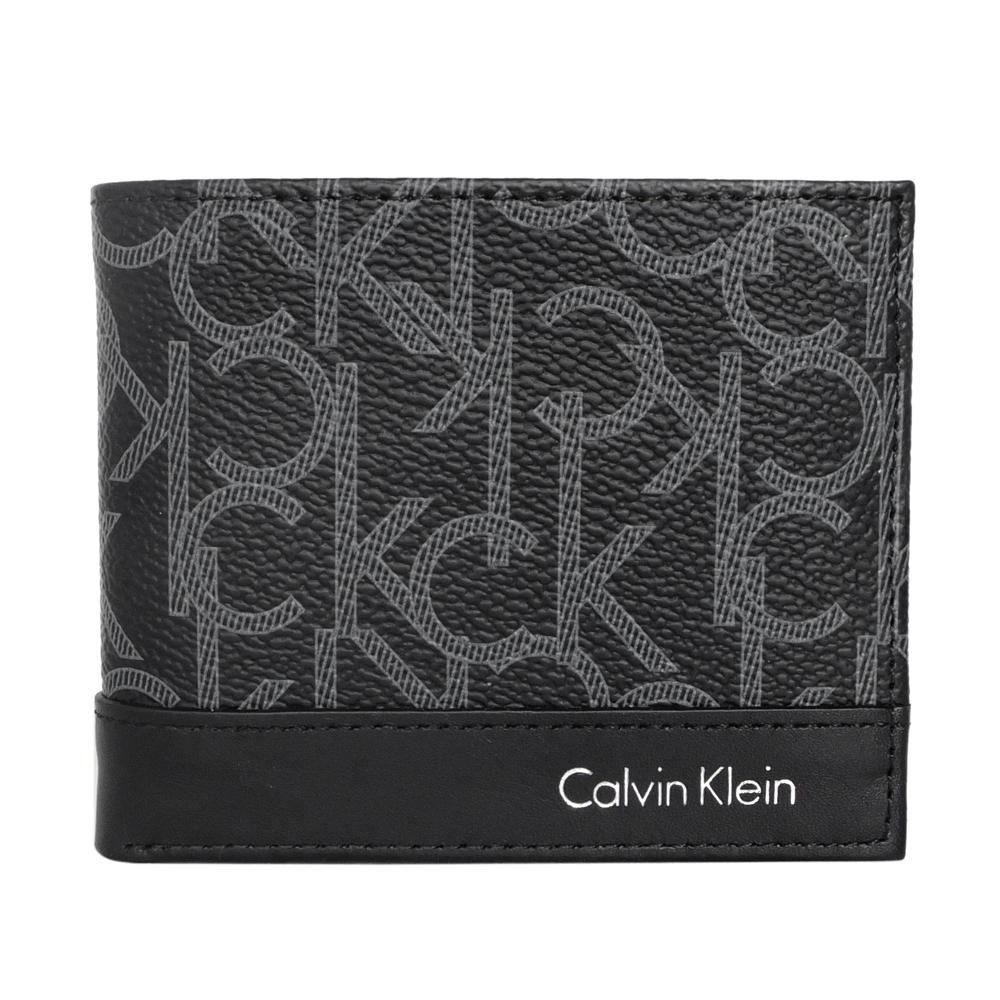 Calvin Klein黑色PVC經典印花logo雙折短夾