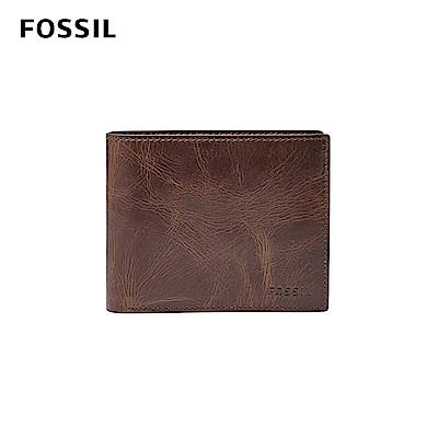 FOSSIL DERRICK 真皮RFID 皮夾-深棕色 ML3687201