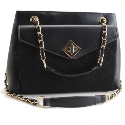 法國盒子 時尚女伶造型鍊飾二用包(黑色)